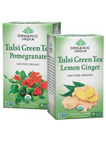 Combo of Tulsi Green Tea Pomegranate 18 Tea Bags & Tulsi Green Tea Lemon Ginger 18 Tea Bags